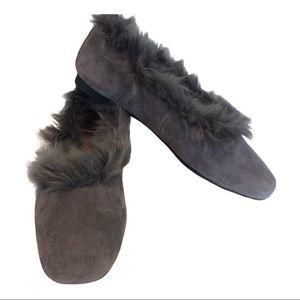 Taryn Rose Ryanne Grey Suede Faux Fur Flats Size 7